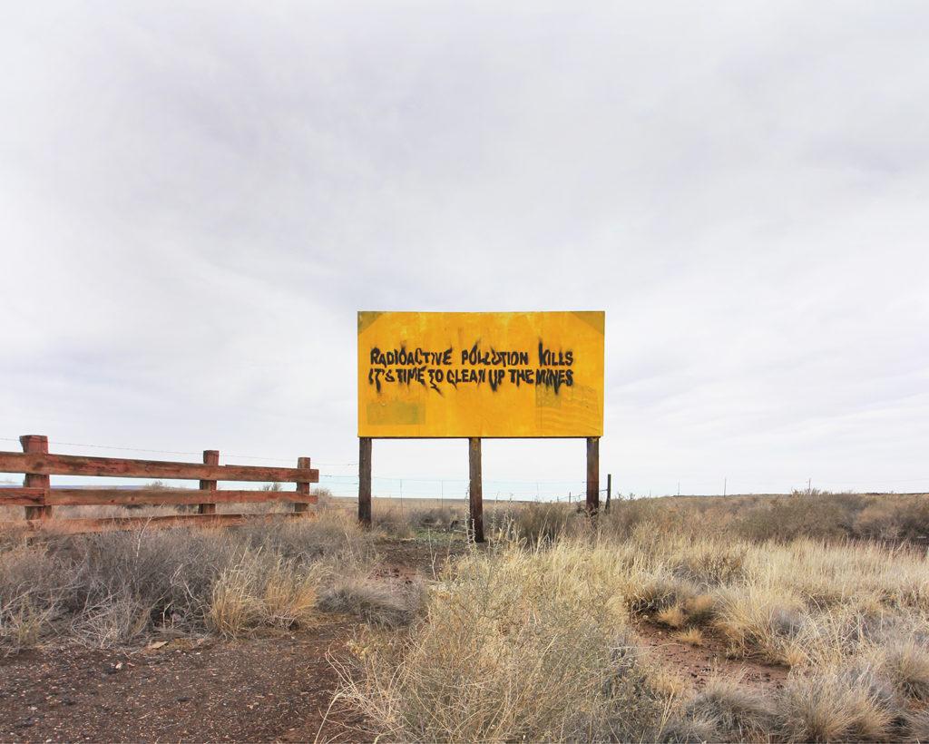 'Radioactive pollution kills' sign